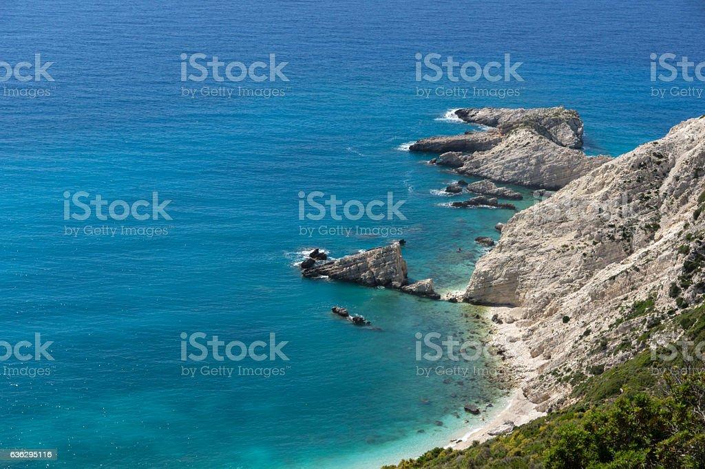 Rocks near Petani Beach, Kefalonia,Greece stock photo
