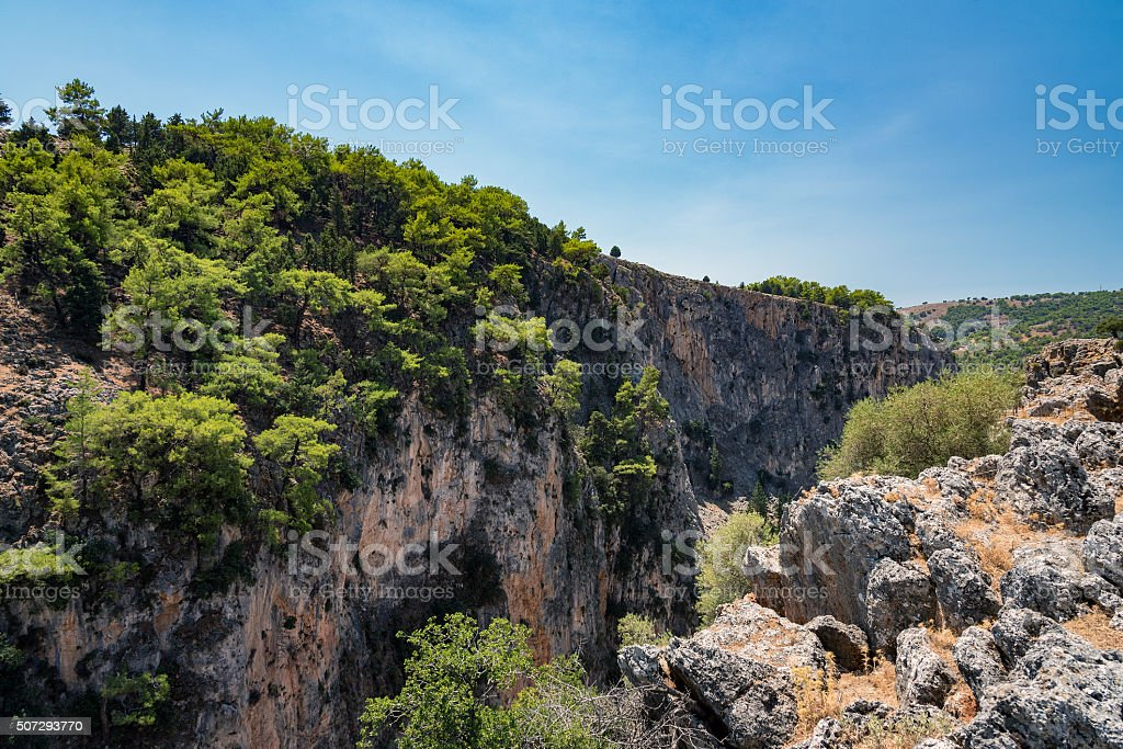 Rocks of Aradena gorge at Crete island, Greece stock photo