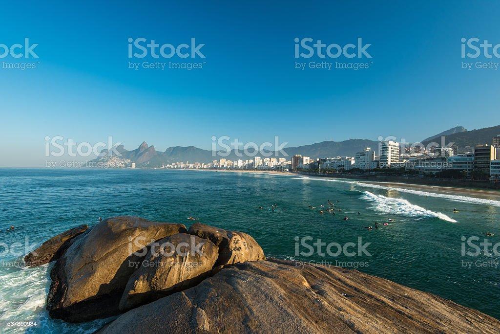 Rocks of Arpoador Beach stock photo