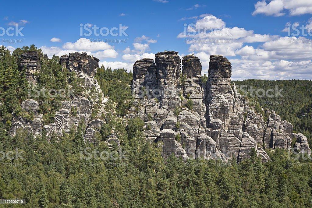 Rocks of Bastei in Saxony stock photo