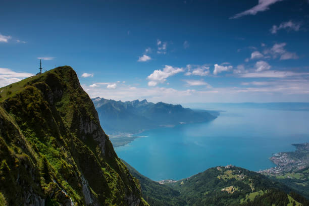 rochers de naye. - lake geneva stock photos and pictures