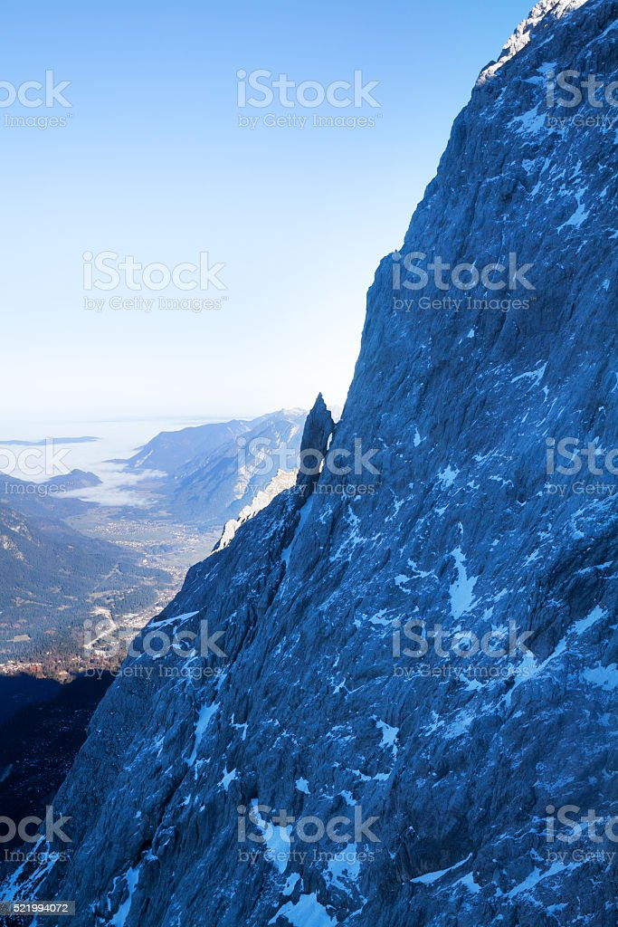 Rocks of Zugspitze and view into valley stock photo