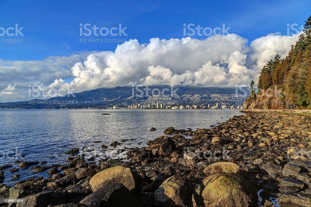 rocks on a beach in Stanley Park, Vancouver, Canada stock photo