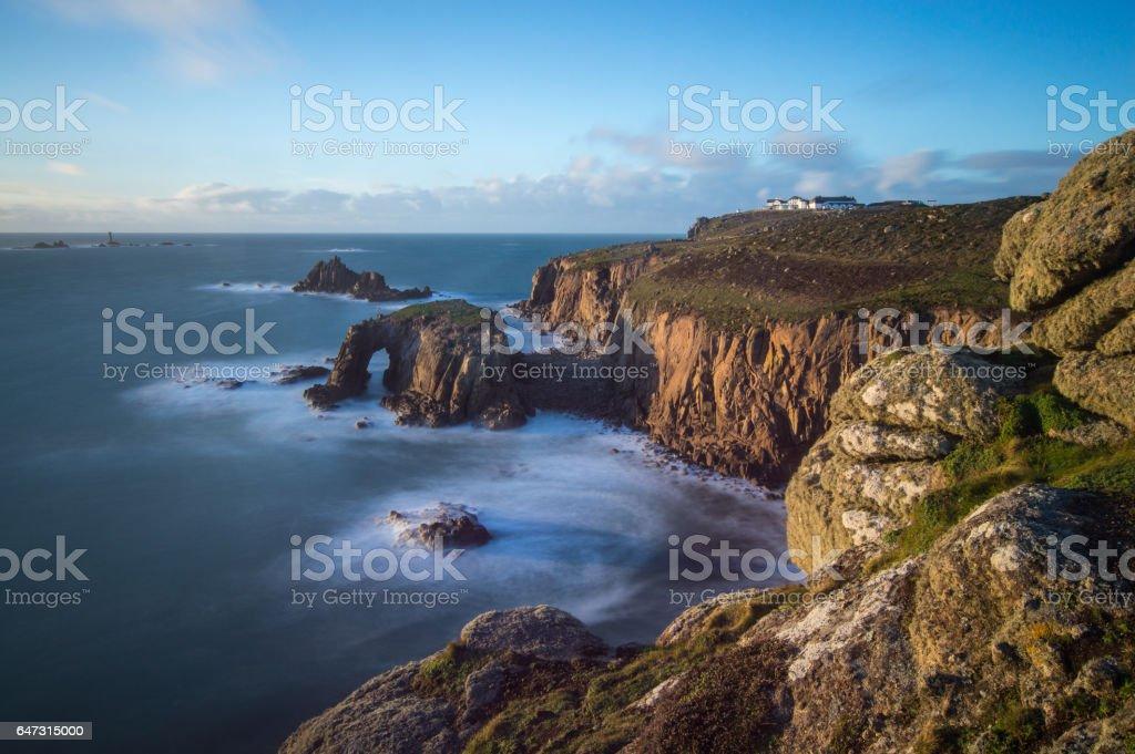 Rocks on the Cliff Edge near Sennen stock photo