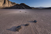 Moving rocks on the remote Racetrack Playa area of Death Valley National Park, California.