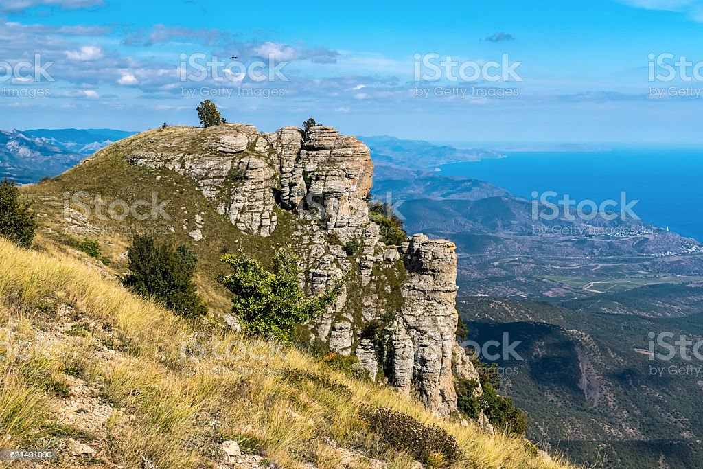 Rocks on the top of the mountain Demerdzhi foto stock royalty-free