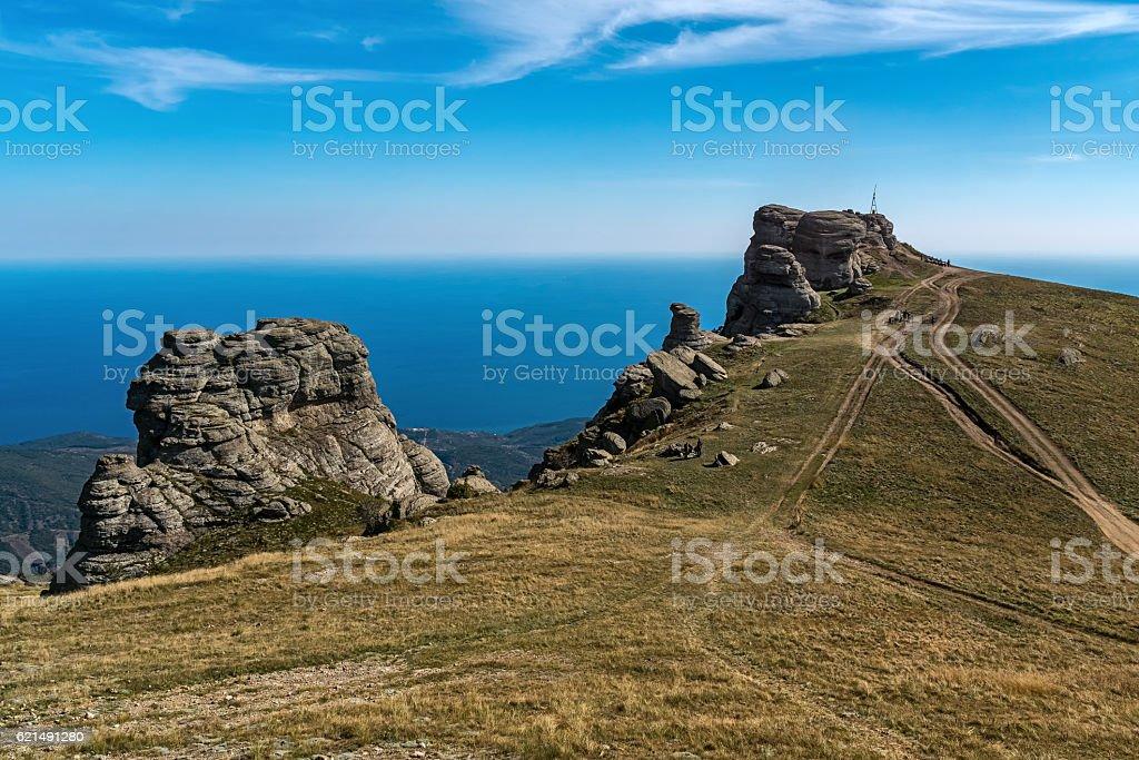 Rocks on the top of the mountain Demerdzhi Lizenzfreies stock-foto