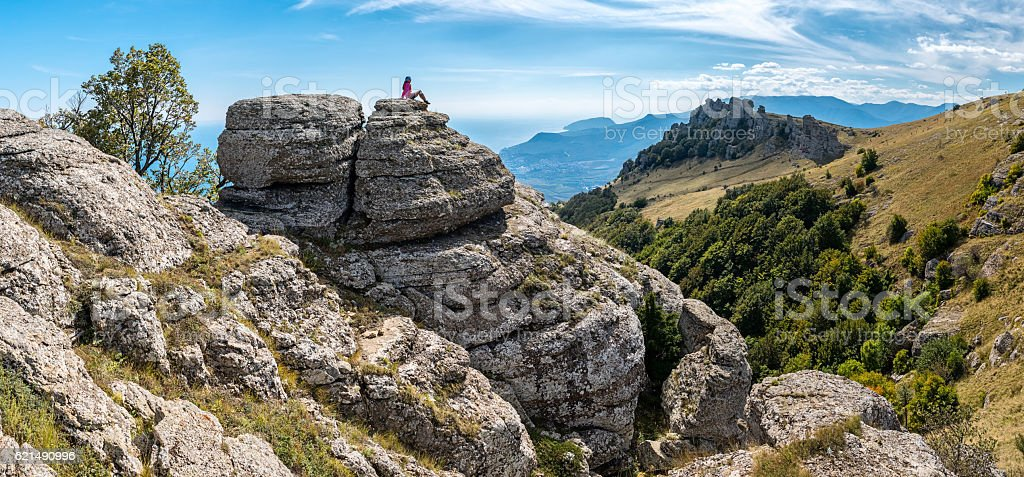 Rocks panorama on the mountain Demerdzhi foto stock royalty-free