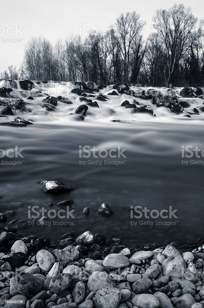 rocks, river stream, waterfall and trees - long exposure royalty-free stock photo