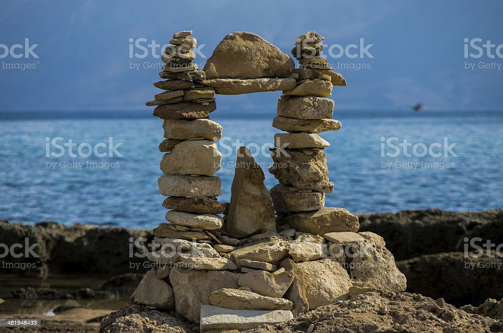 Rock's sculpture in Crete island stock photo