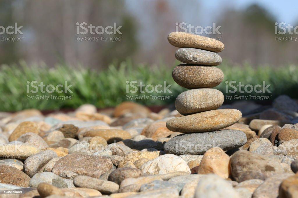 rocks stacked up stock photo
