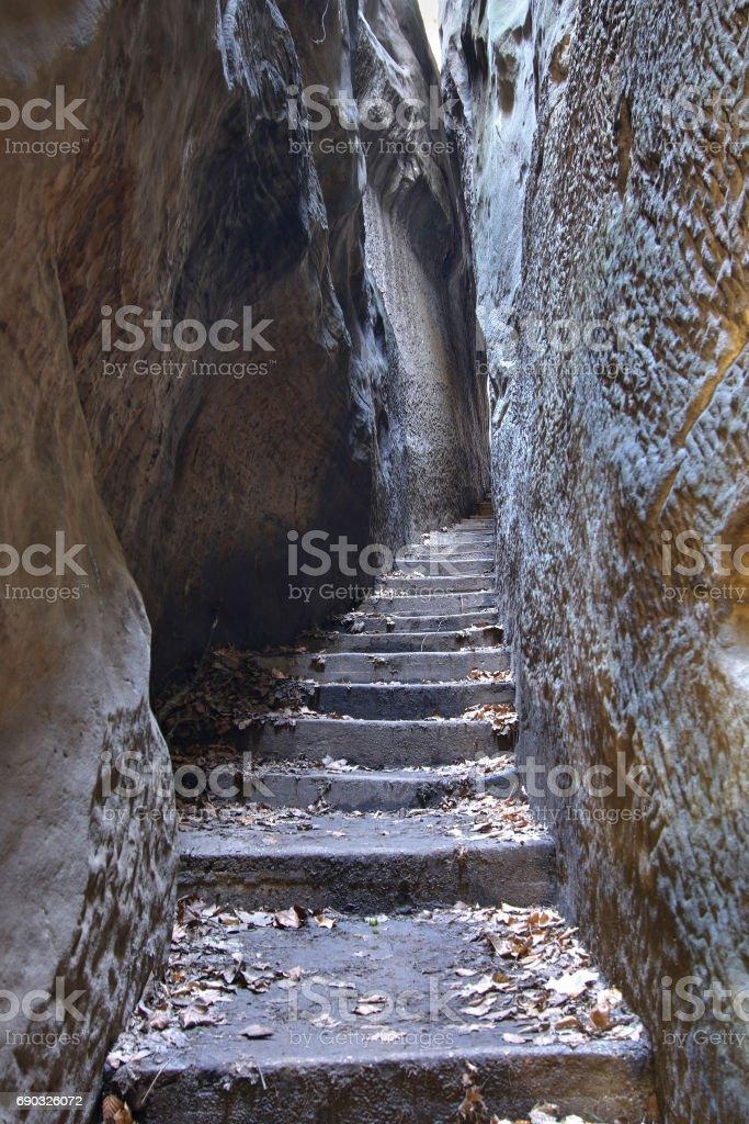 Rocks Stair - Narrow Path in Bohemian Paradise stock photo