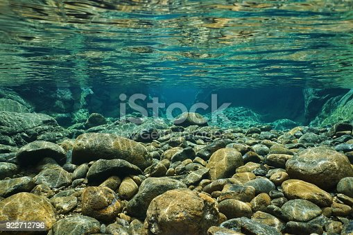 The nature of southern Germany, the stones in the dried riverbed in the Bavarian Alps. Retro style