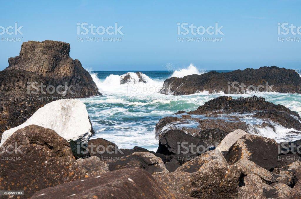 Rocks, waves and breakers, Northern Ireland, UK stock photo