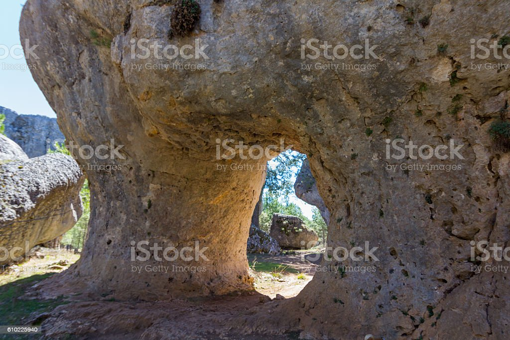 Rocks with capricious forms in the enchanted city of Cuenca stock photo