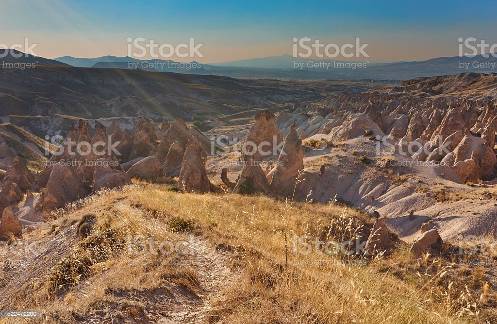 rocks with path in the foreground stock photo