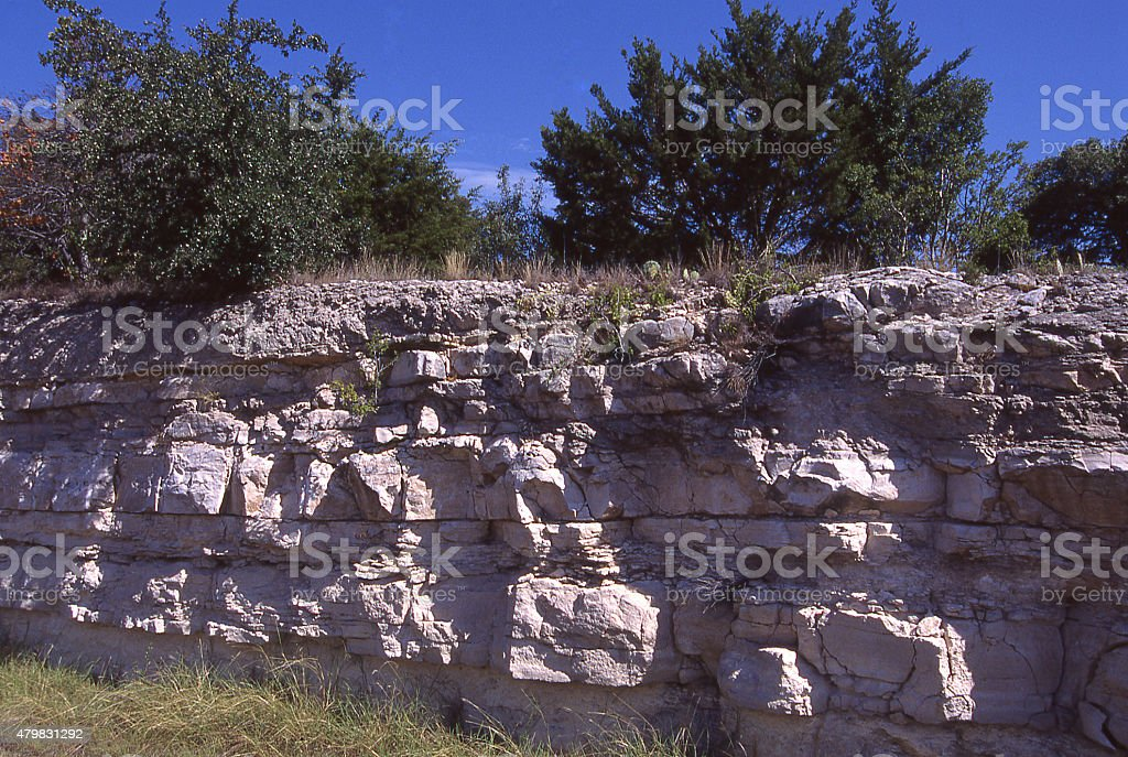 Rockv Outcrop Limestone in Texas Hill Country west of Austin stock photo