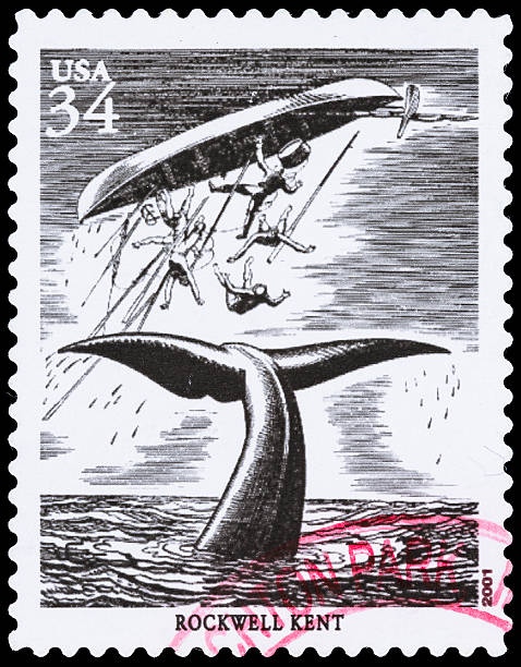 """USA Rockwell Kent Moby Dick postage stamp """"Sacramento, California, USA - September 21, 2012: A 2001 USA postage stamp with a drawing by Rockwell Kent used in an illustrated edition of 'Moby Dick'."""" Dick stock pictures, royalty-free photos & images"""