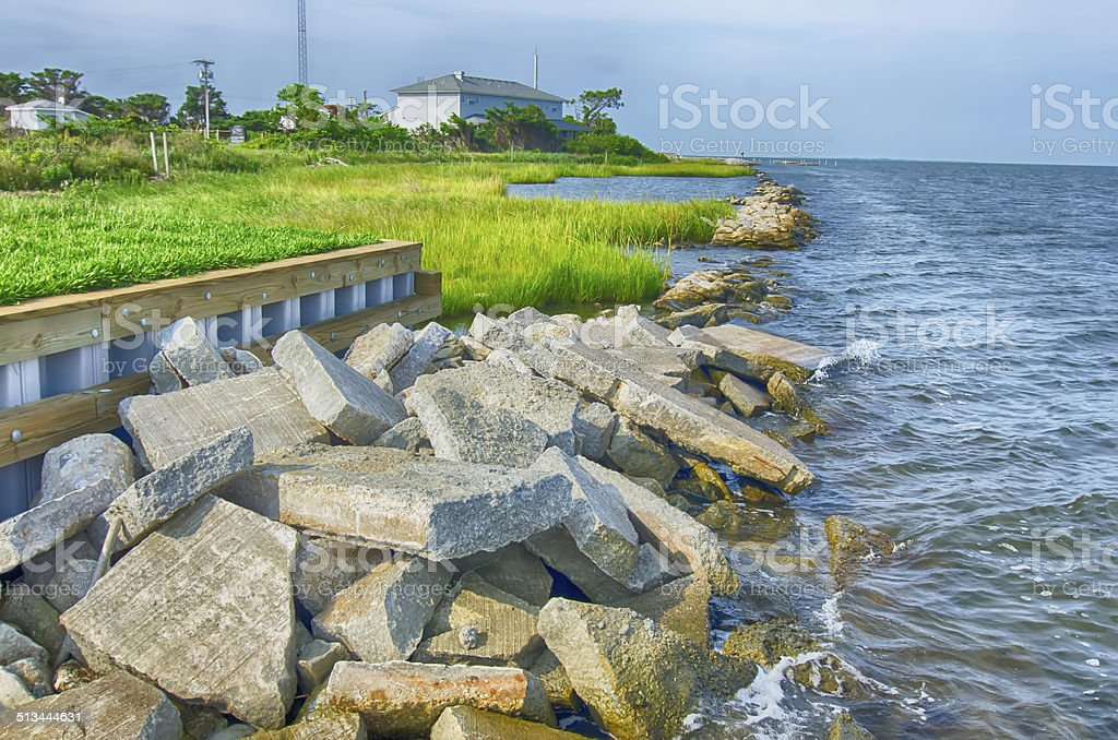 rocky banks on Ocracoke Island of North Carolina's Outer Banks stock photo