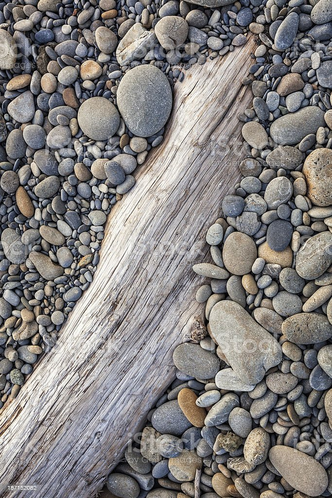 Rocky Beach and Driftwood stock photo