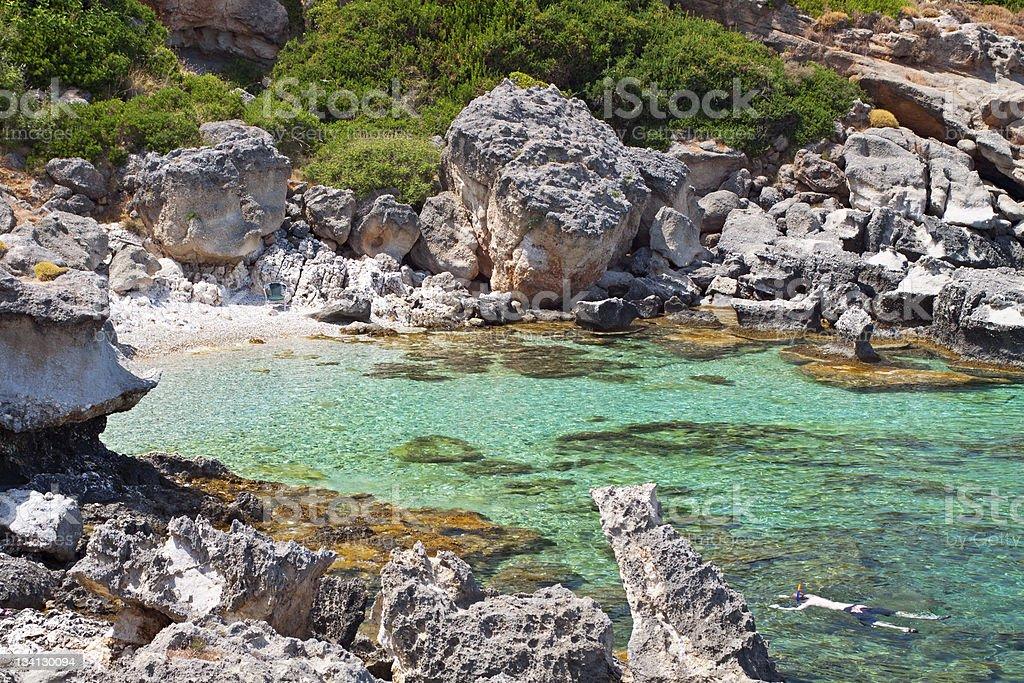 Rocky beach at Kefalonia island in Greece stock photo