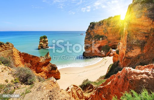 istock Rocky beach at sunset, Lagos, Portugal 599240066
