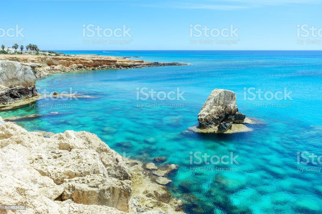 Rocky beach in Ayia Napa stock photo