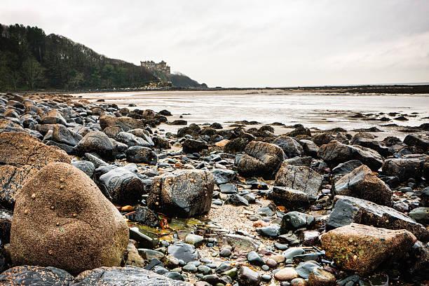 Rocky Beach in front of Culzean Castle, Ayrshire stock photo