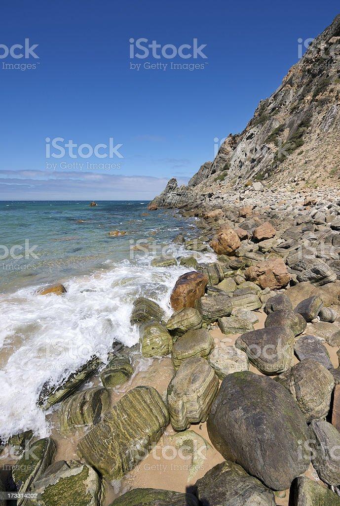 Rocky beach in Portugal near Cascais and Lisbon royalty-free stock photo