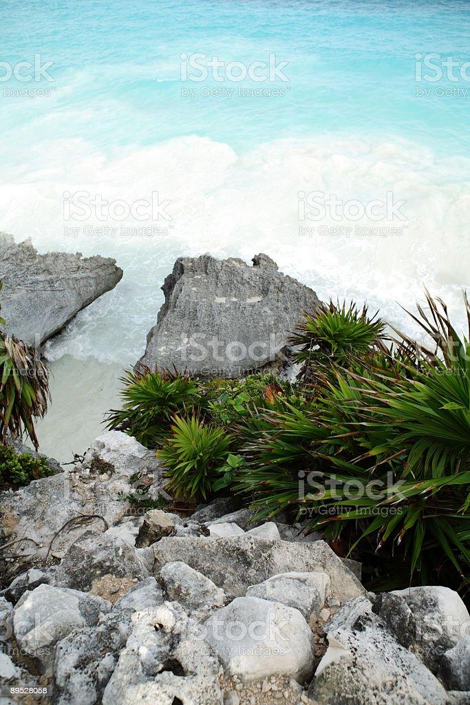 Rocky beach in the caribbean royalty-free stock photo