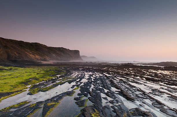 rocky beach in the southwest Alentejo, Portugal stock photo