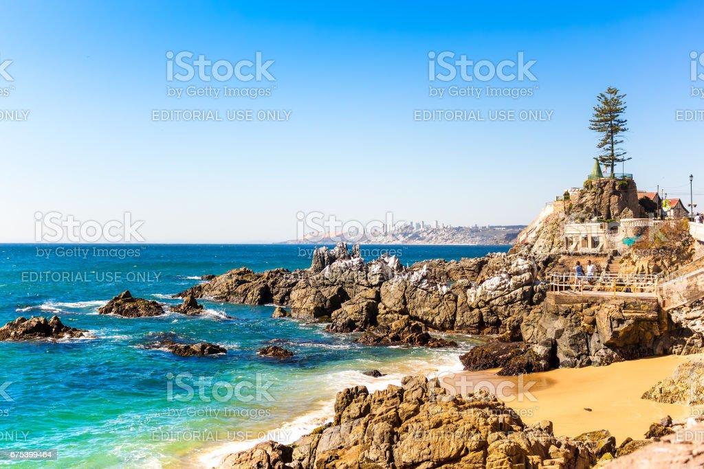 Rocky beach in Vina del Mar, Chile stock photo