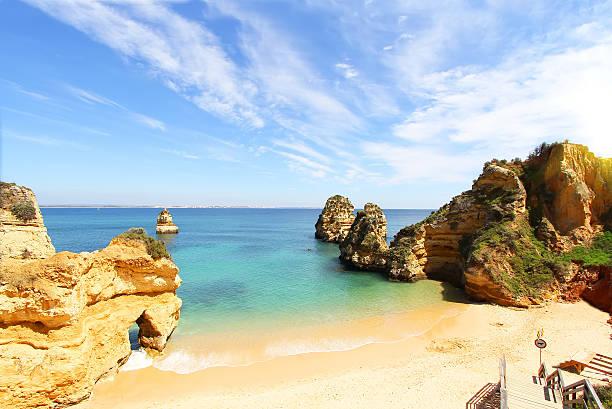 Rocky beach, Lagos, Portugal stock photo