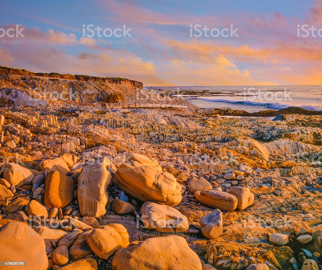 Rocky beach Montana De Oro State Park,sunset, CA (P) stock photo