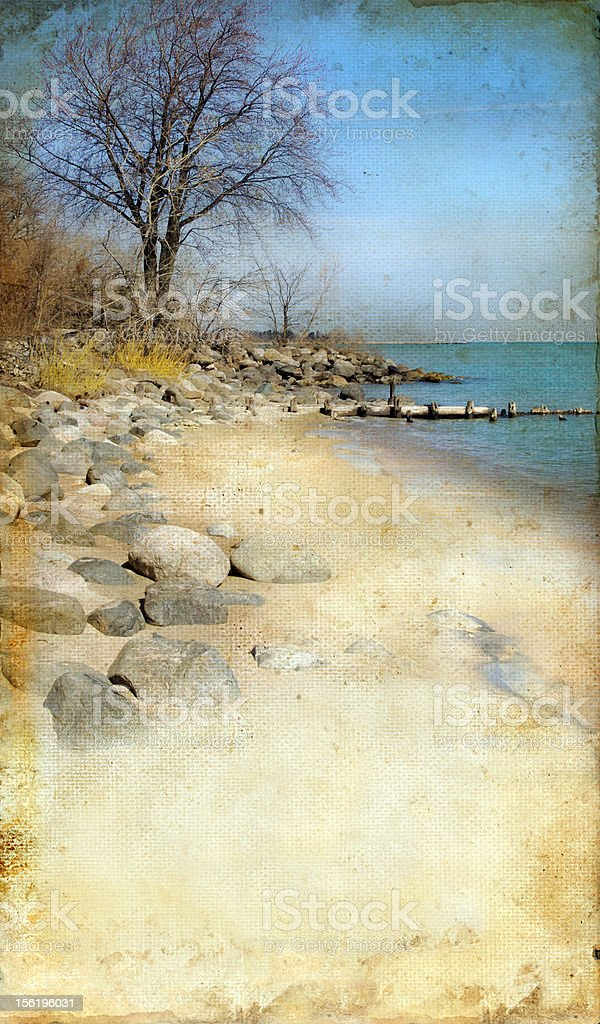 Rocky Beach on Grunge Background royalty-free stock photo