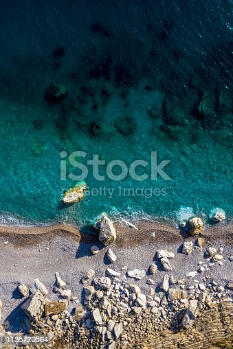 999001484 istock photo Rocky beach shot from a drone directly above 1135720564