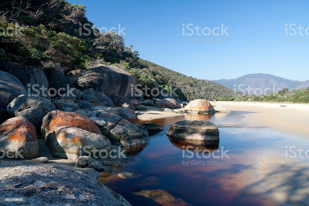 rocky beach, Wilson Promontory NP stock photo