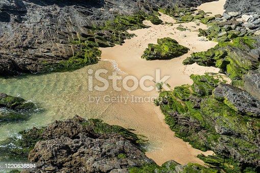 istock Rocky beach with a sand field 1220636894