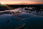 Sunrise at Taranaki beach New Zealand