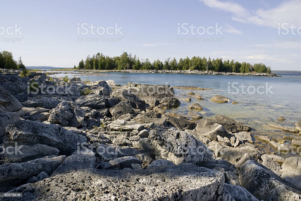 Rocky Beach with Island View royalty-free stock photo