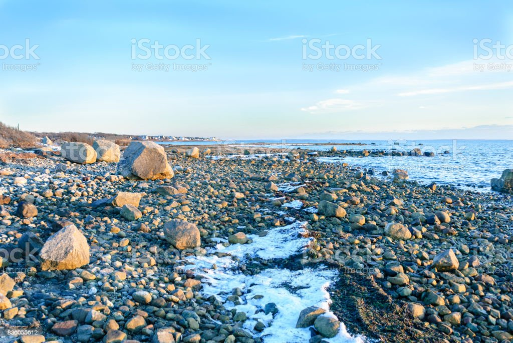 Rocky Buzzards Bay coastline stock photo
