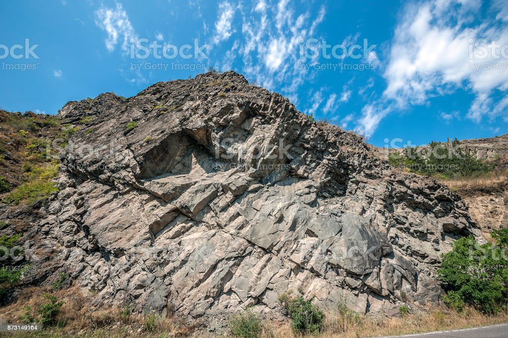 Rocky canyon of the river Kura in the Vardzia region. stock photo