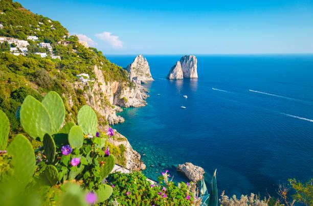 Rocky Capri coast. stock photo