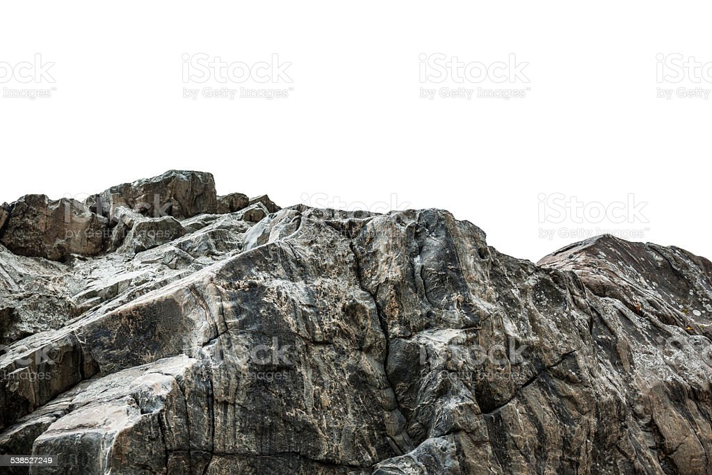 Rocky cliff isolated on white stock photo