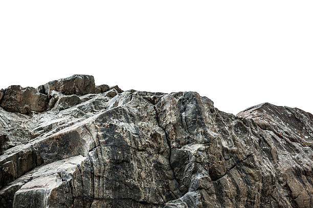 rocky cliff isolated on white - cliff stock pictures, royalty-free photos & images