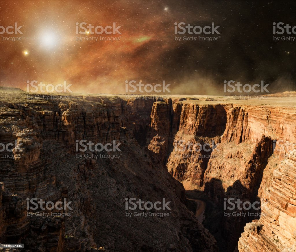 rocky cliff of the red planet stock photo