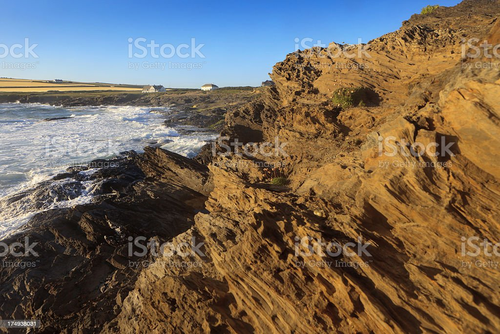 rocky coast at Constantine Bay in Cornwall royalty-free stock photo