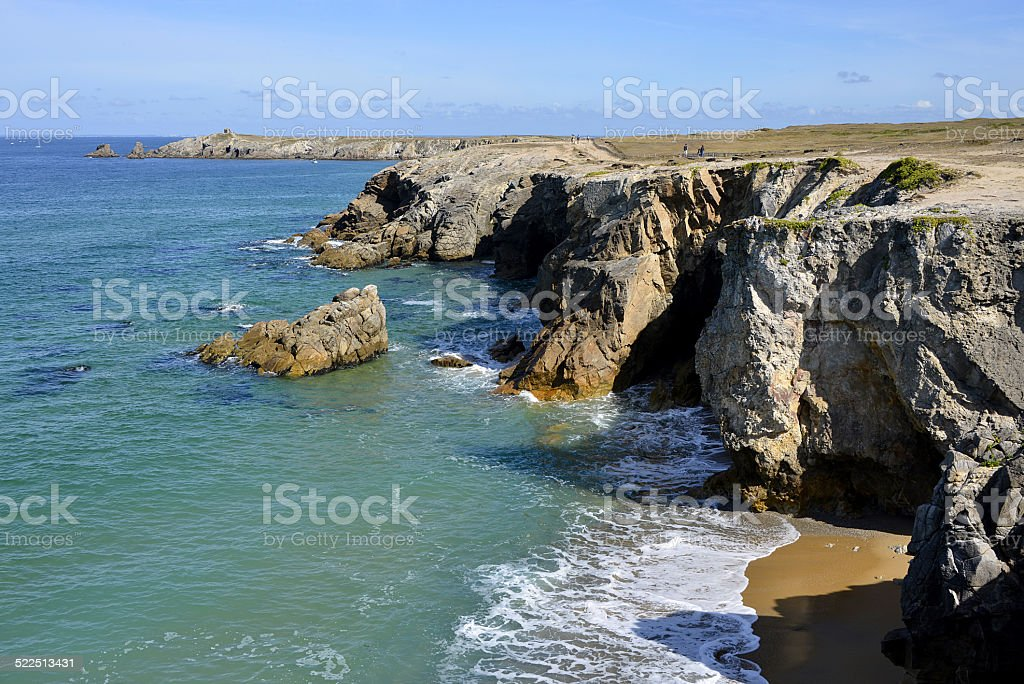 Rocky coast at Quiberon peninsula in France stock photo