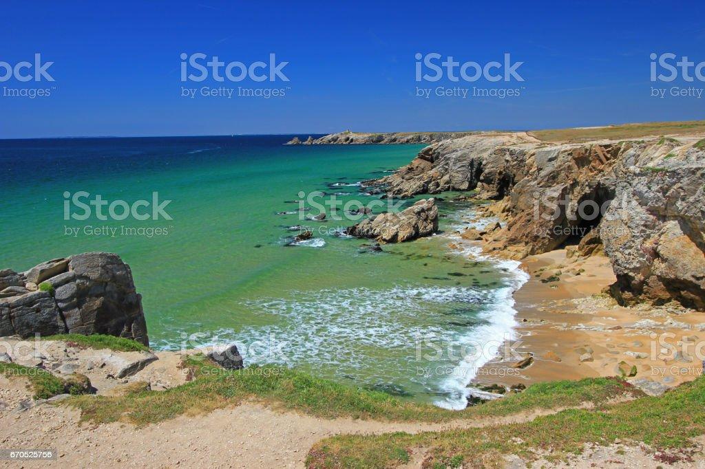 Rocky coast at the Atlantic Ocean, Brittany, France stock photo