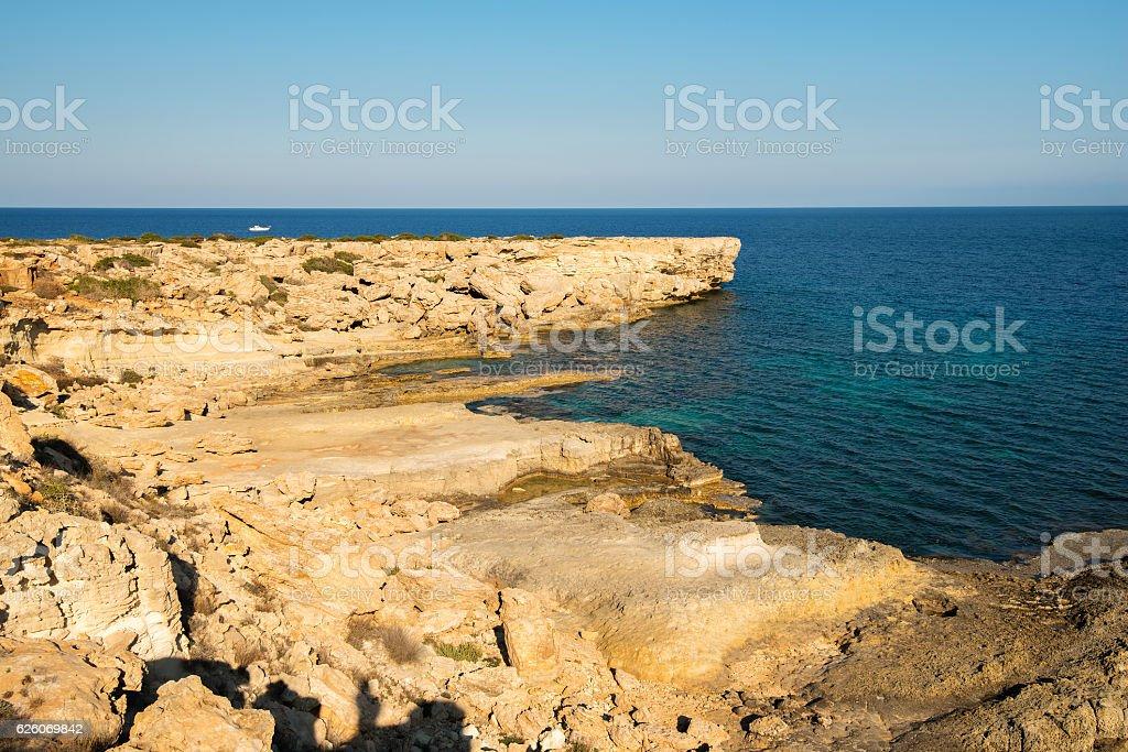 Rocky coast Cape Greco stock photo